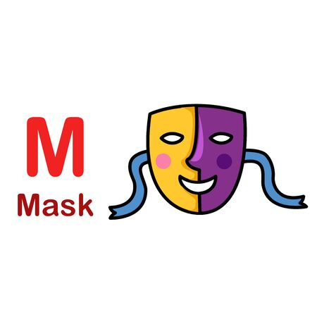 Alphabet Letter M-Mask vector illustration