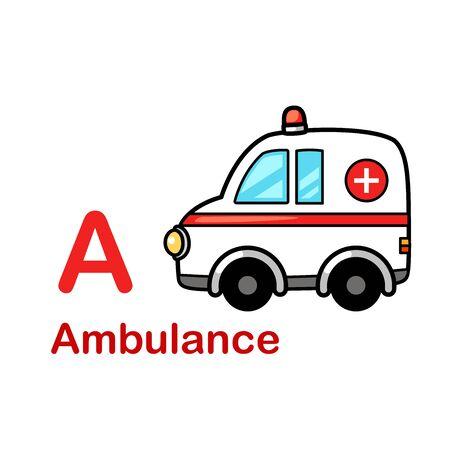 Alphabet Letter A-Ambulance vector illustration  イラスト・ベクター素材