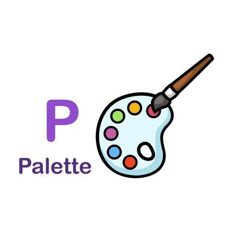 Alphabet Letter P-Palette vector illustration