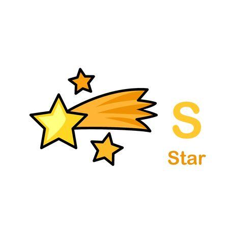 Alphabet Letter S-Star vector illustration