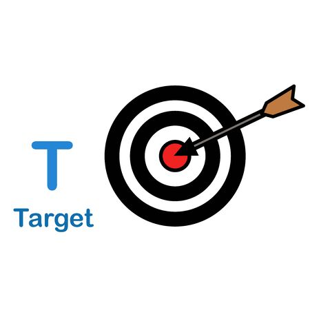 Alphabet Letter T-Target vector illustration