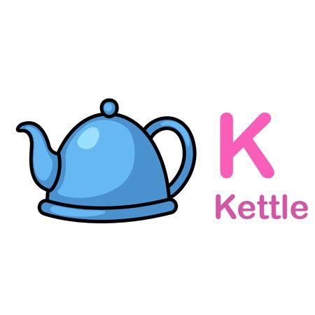 Alphabet Letter K-Kettle vector illustration  イラスト・ベクター素材