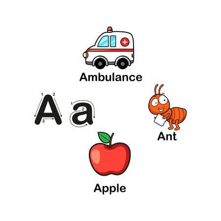 Alphabet Letter A-ambulance,ant,apple  vector illustration Ilustração