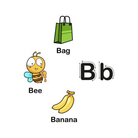 Alphabet Letter B-bag,banana,bee vector illustration