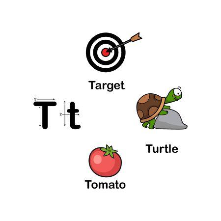 Alphabet Letter T-target,tomato,turtle vector illustration Ilustração