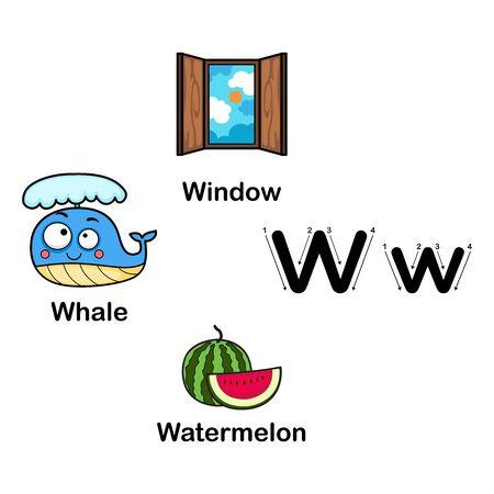 Alphabet Letter W-watermelon,whale,window vector illustration Ilustração