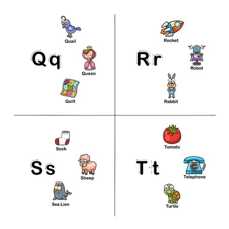 Alphabet Letter Q-R-S-T vector illustration  イラスト・ベクター素材