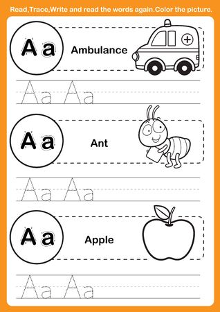 Alphabet exercise with cartoon vocabulary for coloring book illustration, vector