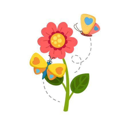 Sunflower and butterfly  illustration, vector