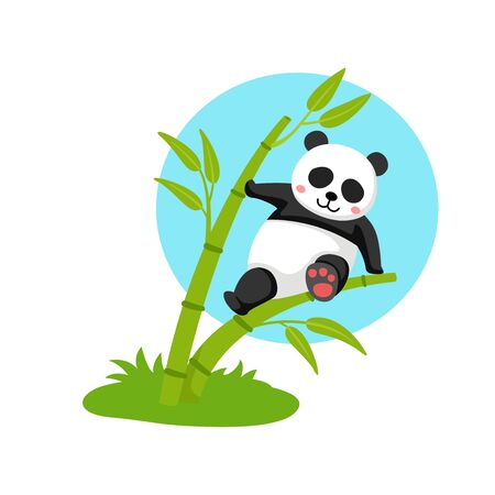 panda hanging on the bamboo illustration, vector