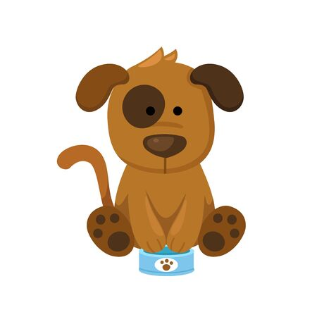 dog with food can illustration, vector