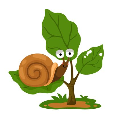illustration of snail on tree white background vector