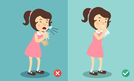 Girl right and wrong sneezing in hand and handkerchief,illustration.vector Illustration