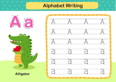Alphabet Letter A-Alligator exercise with cartoon vocabulary illustration, vector