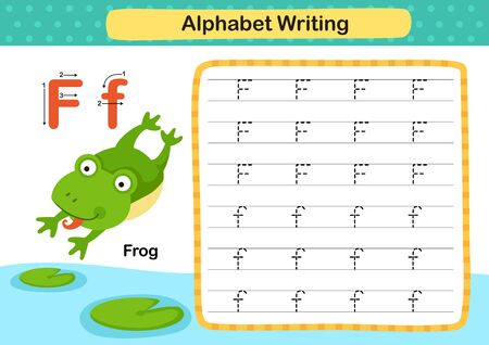 Alphabet Letter F-Frog exercise with cartoon vocabulary illustration, vector