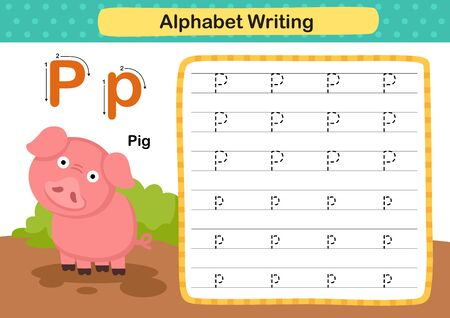 Alphabet Letter P-Pig exercise with cartoon vocabulary illustration, vector