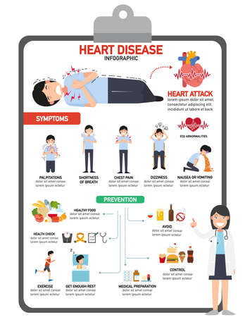 Heart disease infographic vector illustration.