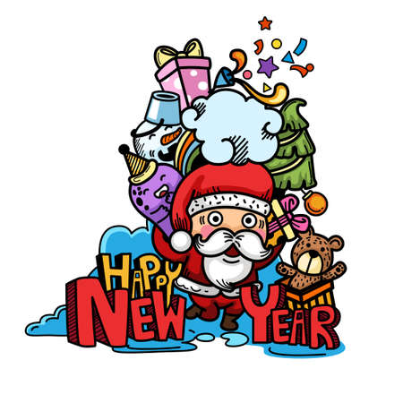 Hand drawn santa claus happy new year and merry christmas.illustration vector 向量圖像