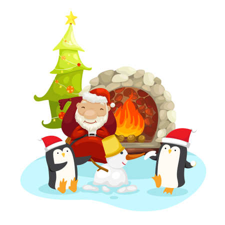 illustration of santa claus happy new year and merry christmas.vector