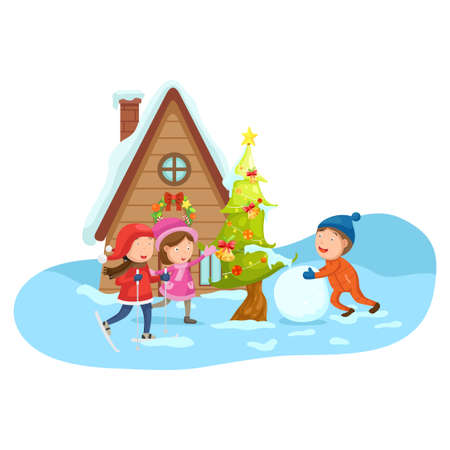 illustration of merry christmas on a winter landscape.vector 向量圖像