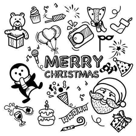Hand drawn set happy new year and merry christmas. illustration vector