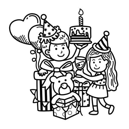 Hand drawn party merry christmas. illustration vector