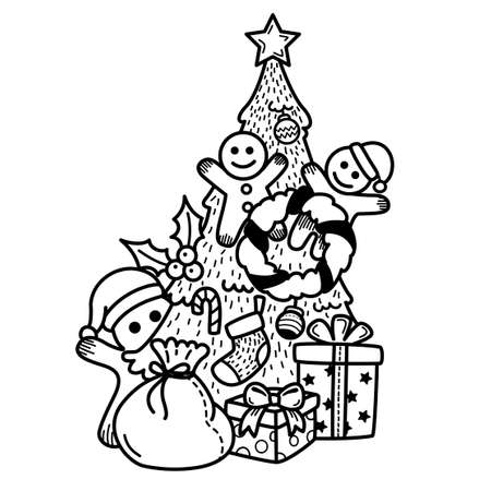 Hand drawn happy new year and merry christmas.illustration vector