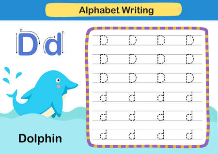 Alphabet Letter D-Dolphin exercise with cartoon vocabulary illustration, vector