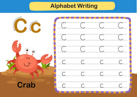 Alphabet Letter exercise C-Crab with cartoon vocabulary illustration, vector