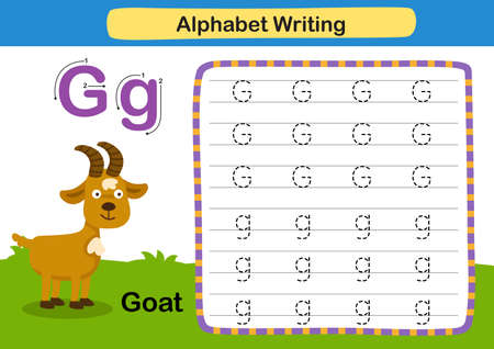 Alphabet Letter exercise G-Goat with cartoon vocabulary illustration, vector