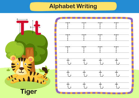 Alphabet Letter exercise T-Tiger with cartoon vocabulary illustration, vector 向量圖像