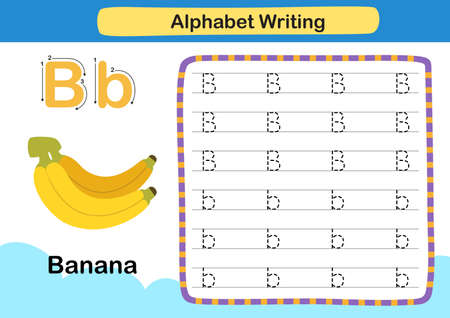 Alphabet Letter B-Banana exercise with cartoon vocabulary illustration, vector 向量圖像