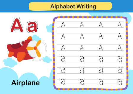 Alphabet Letter A -Airplane exercise with cartoon vocabulary illustration, vector
