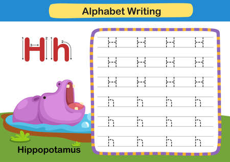 Alphabet Letter exercise H-Hippopotamus with cartoon vocabulary illustration, vector 向量圖像