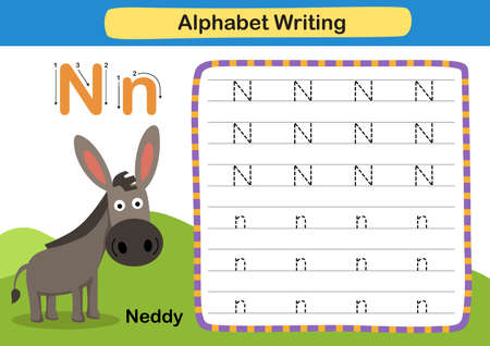Alphabet Letter exercise N-Neddy with cartoon vocabulary illustration, vector