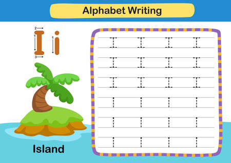 Alphabet Letter exercise I-Island with cartoon vocabulary illustration, vector 向量圖像