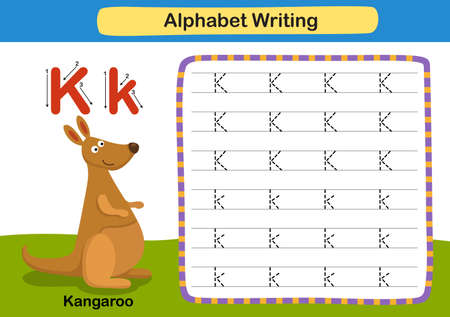 Alphabet Letter exercise K-Kangaroo with cartoon vocabulary illustration, vector