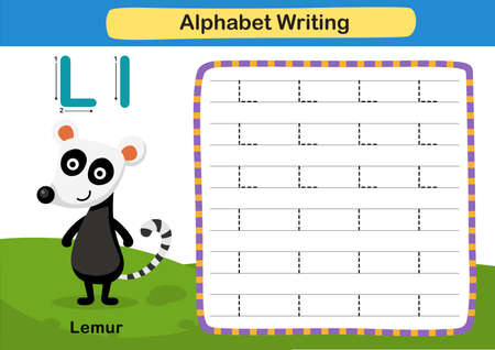 Alphabet Letter exercise L-Lemur with cartoon vocabulary illustration, vector