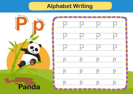 Alphabet Letter exercise P-Panda with cartoon vocabulary illustration, vector 向量圖像