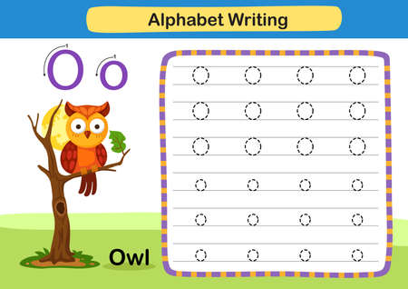 Alphabet Letter exercise O-Owl with cartoon vocabulary illustration, vector