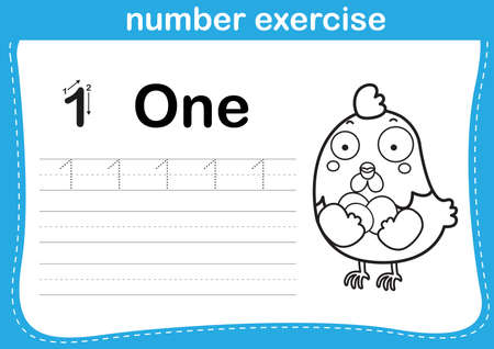 number exercise with cartoon coloring book illustration, vector 向量圖像