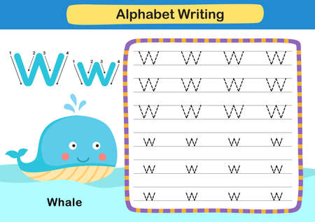 Alphabet Letter exercise W-Whale with cartoon vocabulary illustration, vector