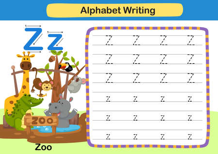 Alphabet Letter Z-Zoo exercise with cartoon vocabulary illustration, vector 向量圖像