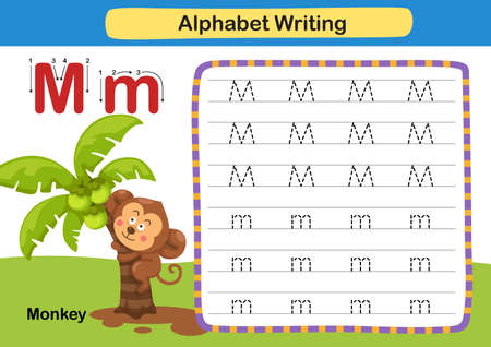 Alphabet Letter exercise M-Monkey with cartoon vocabulary illustration, vector