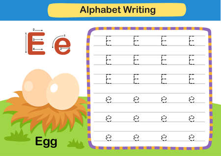 Alphabet Letter exercise E-Egg with cartoon vocabulary illustration, vector