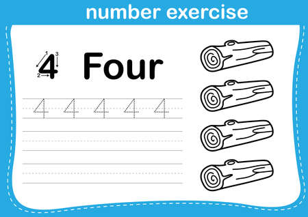 number exercise with cartoon coloring book illustration, vector