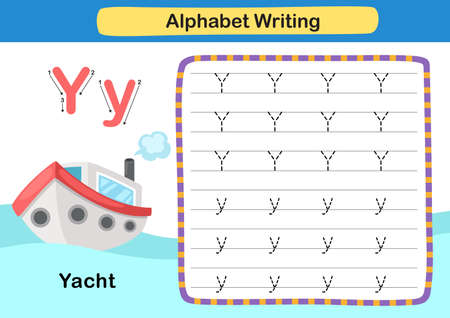 Alphabet Letter exercise Y-Yacht with cartoon vocabulary illustration, vector