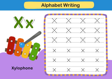 Alphabet Letter exercise X-Xylophone with cartoon vocabulary illustration, vector