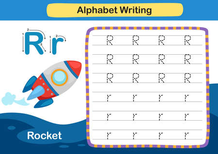 Alphabet Letter exercise R-Racket with cartoon vocabulary illustration, vector