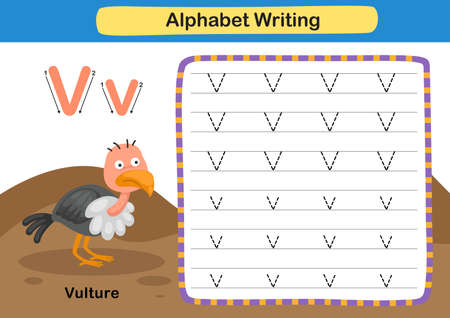 Alphabet Letter exercise V-Vulture  with cartoon vocabulary illustration, vector